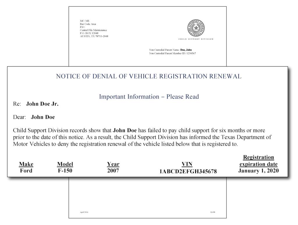 Vehicle Registration Renewal Notice of Denial in English